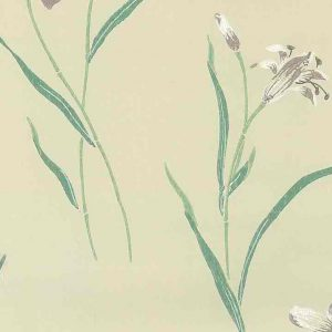 Waverly lavender lilies vintage wallpaper, teal, cream, white, oriental