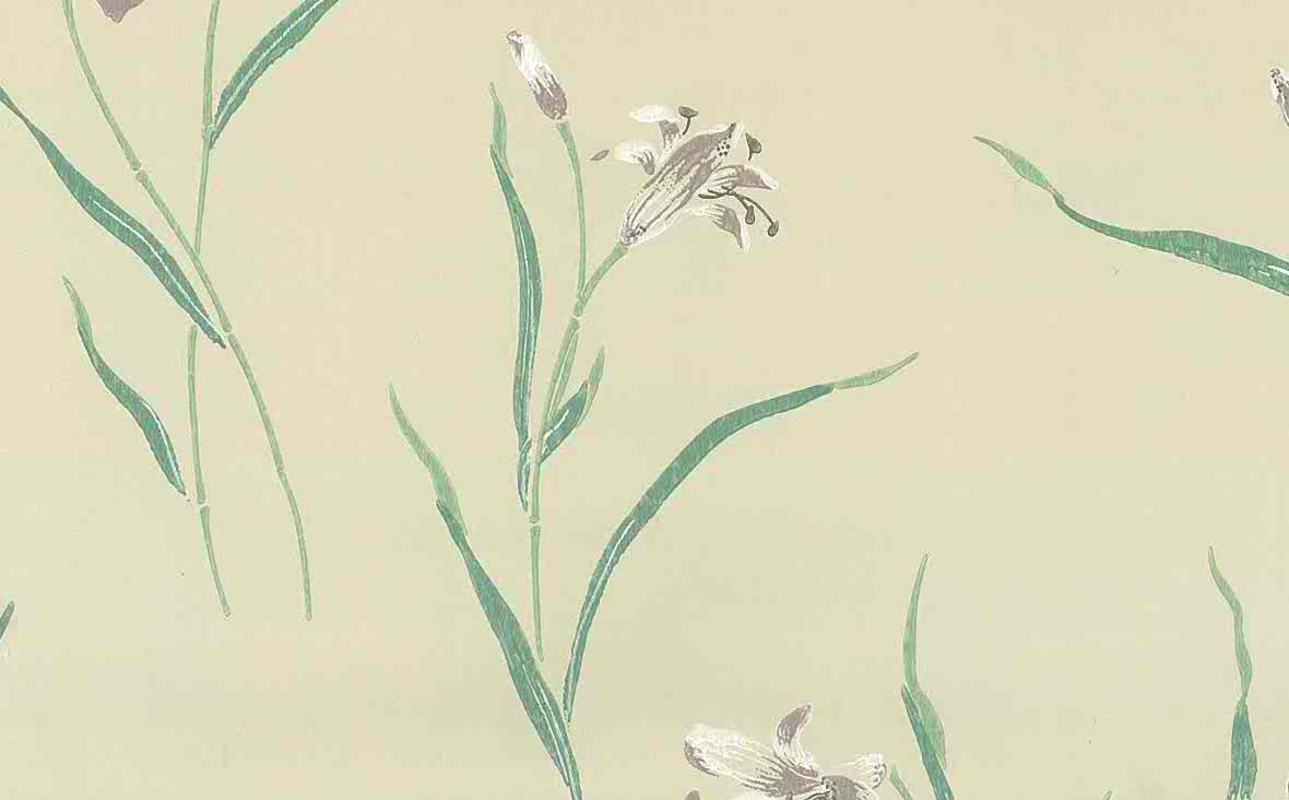 Waverly lavender lilies vintage wallpaper, teal, cream, white, oriental