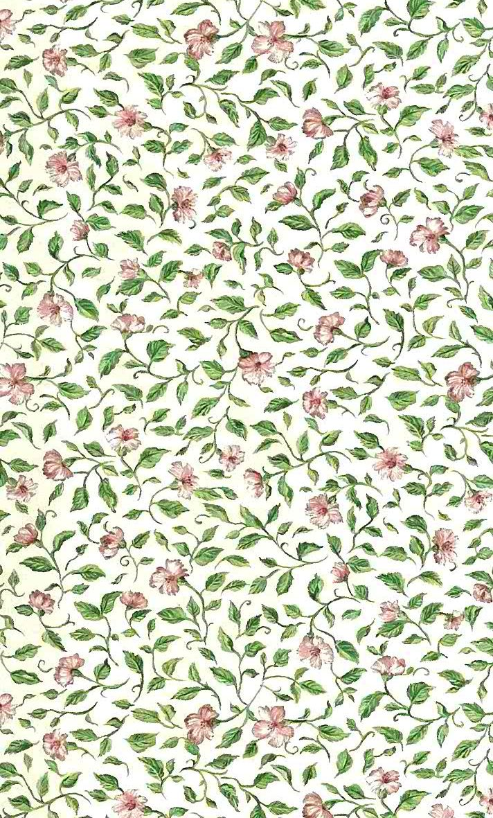 cottage floral vintage wallpaper, English style, green, pink, off-white, vintage style, cottage, vines, leaves, flowers, bedroom, breakfast room