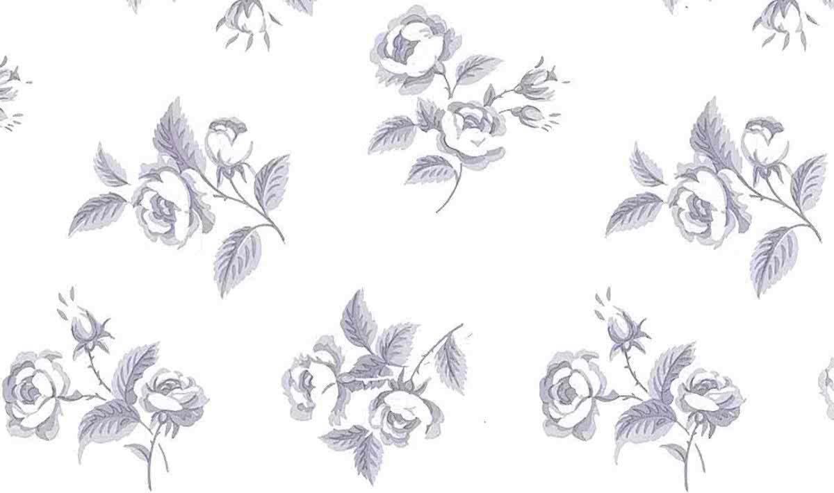 Lavender floral vintage wallpaper, off-white, cottage, roses, leaves, Waverly, bedroom
