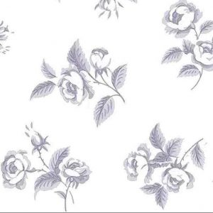 Lavender floral vintage wallpaper, off-white, cottage, roses, leaves, Waverly, bedroom