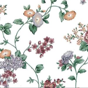 morning glories vintage floral wallpaper, lavender, orange, rose, green, vines, leaves, cottage