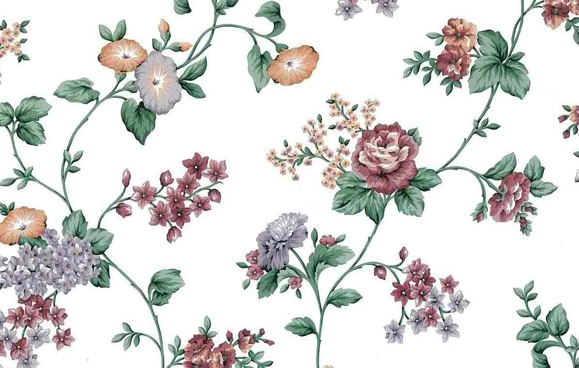 morning glories vintage floral wallpaper, lavender, orange, rose, green, vines, leaves, cottage