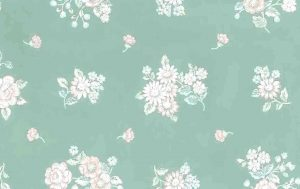 pink green floral vintage wallpaper, light blue, white, cottage