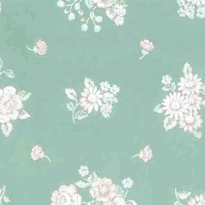 pink green floral vintage wallpaper, light blue, white, cottage