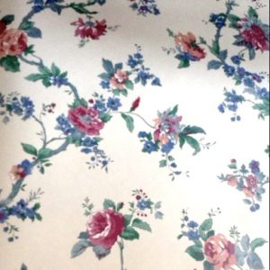 floral cottage vintage wallpaper, Waverly, red, blue, green, cream, English country, cottage