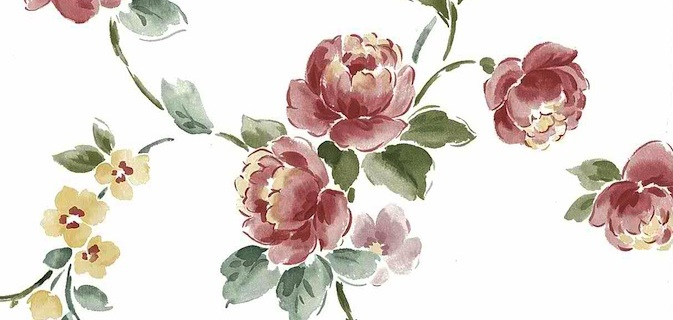 Peony floral vintage wallpaper, pink, rose, green, off-white, English cottage