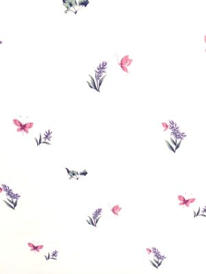butterfly floral kitchen wallpaper, pink, purple, Carey Lind, girl's, bedroom, white