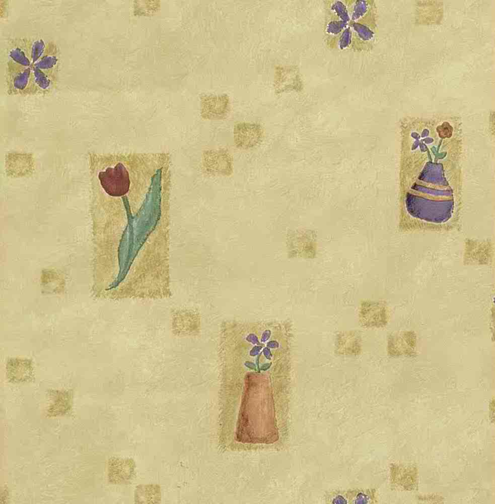 Vintage wallpaper Spring flowers, yellow, red, purple