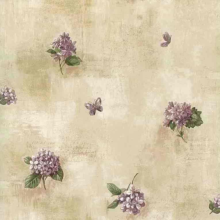 Lilacs vintage wallpaper purple green beige