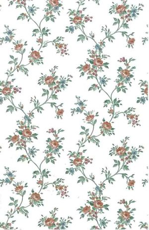 Cottage vintage wallpaper roses, rose pink, blue, vines