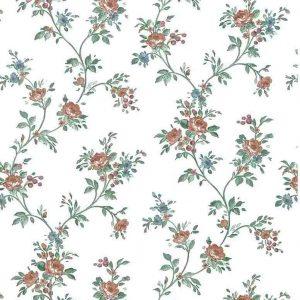 Cottage vintage wallpaper roses, rose pink, blue, vines
