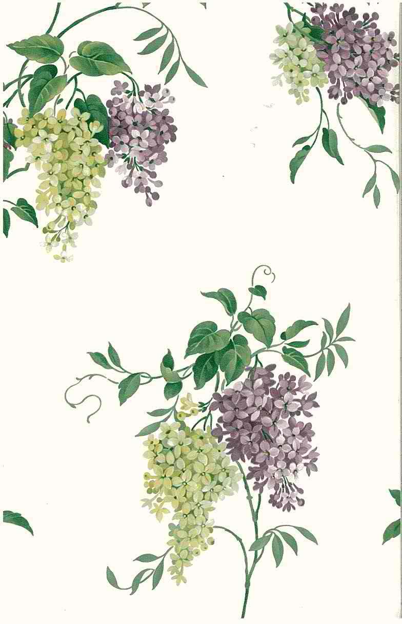 vintage wallpaper hydrangea floral, purple, green, white