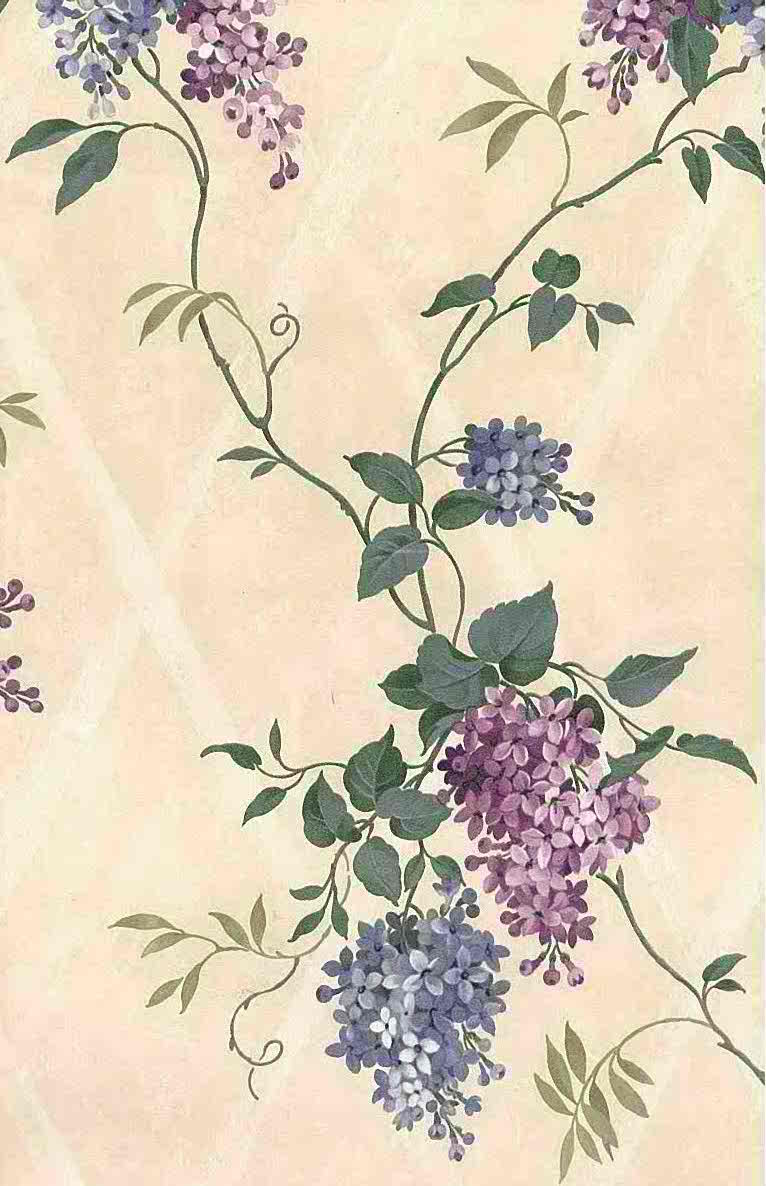 hydrangeas lattice vintage wallpaper, purple, blue, cream