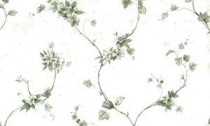Green Ivy Vintage Wallpaper, vines, off-white, floral
