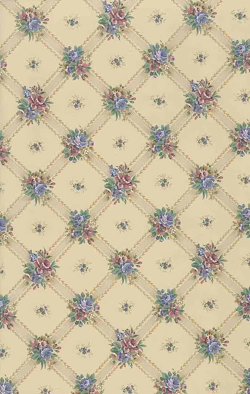 lattice floral vintage wallpaper, beige, rose, blue
