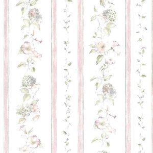 morning glories vintage wallpaper, pink striped, stripes, blue, hydrangea, UK, cottage