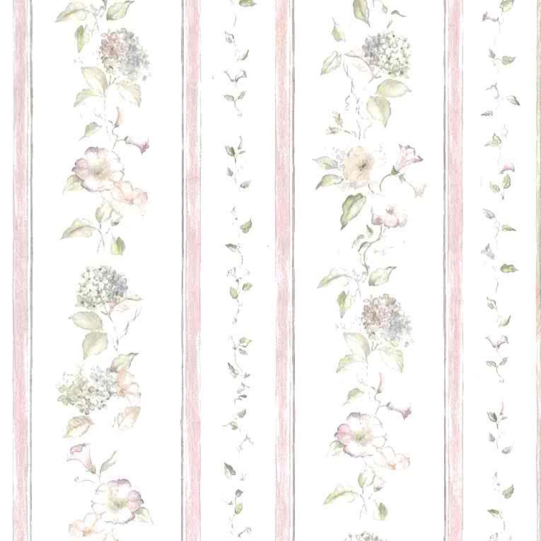 morning glories vintage wallpaper, pink striped, stripes, blue, hydrangea, UK, cottage