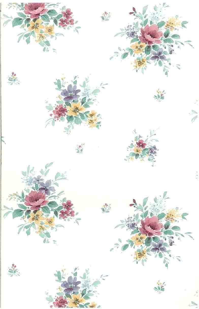 Nosegays floral vintage wallpaper, pink, purple, yellow, white