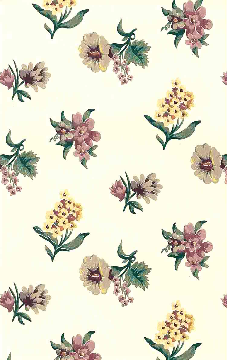 Old fashioned floral vintage wallpaper, purple, yellow, green, cream