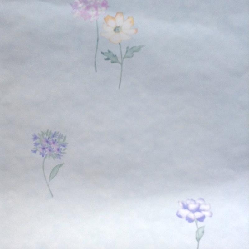 Pastel floral vintage wallpaper,pink blue, yellow, purple, faux finish