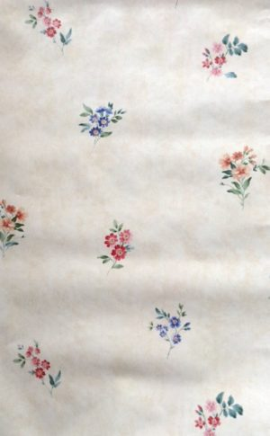 Summer floral vintage wallpaper, rose, pink, blue, green, cream, faux finish
