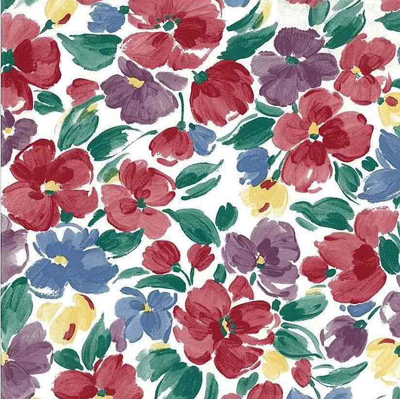 Multi color floral vintage wallpaper,red, blue, purple, green, yellow, white, cottage