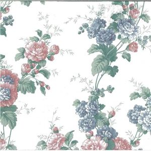 Peony vintage floral wallpaper, pink, blue, green, off-white, cottage, Waverly, bedroom, flowers