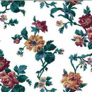 vintage wallpaper floral cottage, red, green, yellow, bedroom, flowers, roses