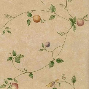 beige kitchen vintage wallpaper, plums, apples, pears, fruit, birds, red, purple, green, yellow, faux finish, textured