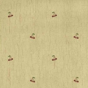 red cherries vintage wallpaper, crackled finish