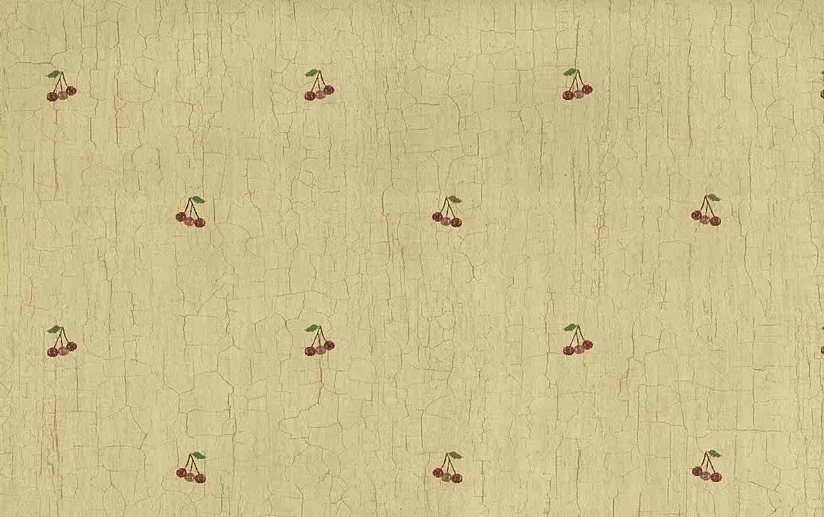 red cherries vintage wallpaper, crackled finish