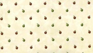 Red green apples vintage wallpaper,cream faux finish