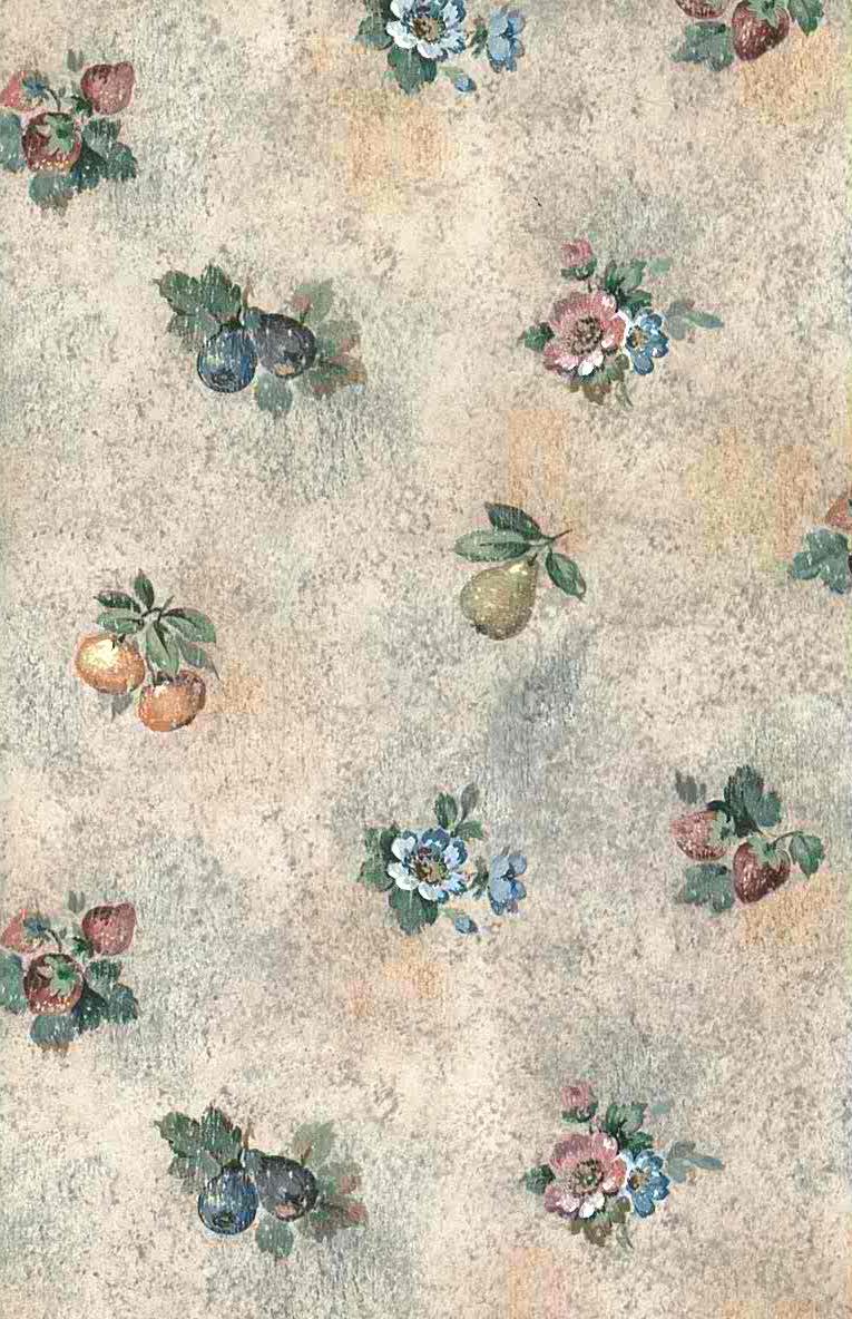 pink faux fruit vintage wallpaper, strawberries, plums, pears, pink, blue