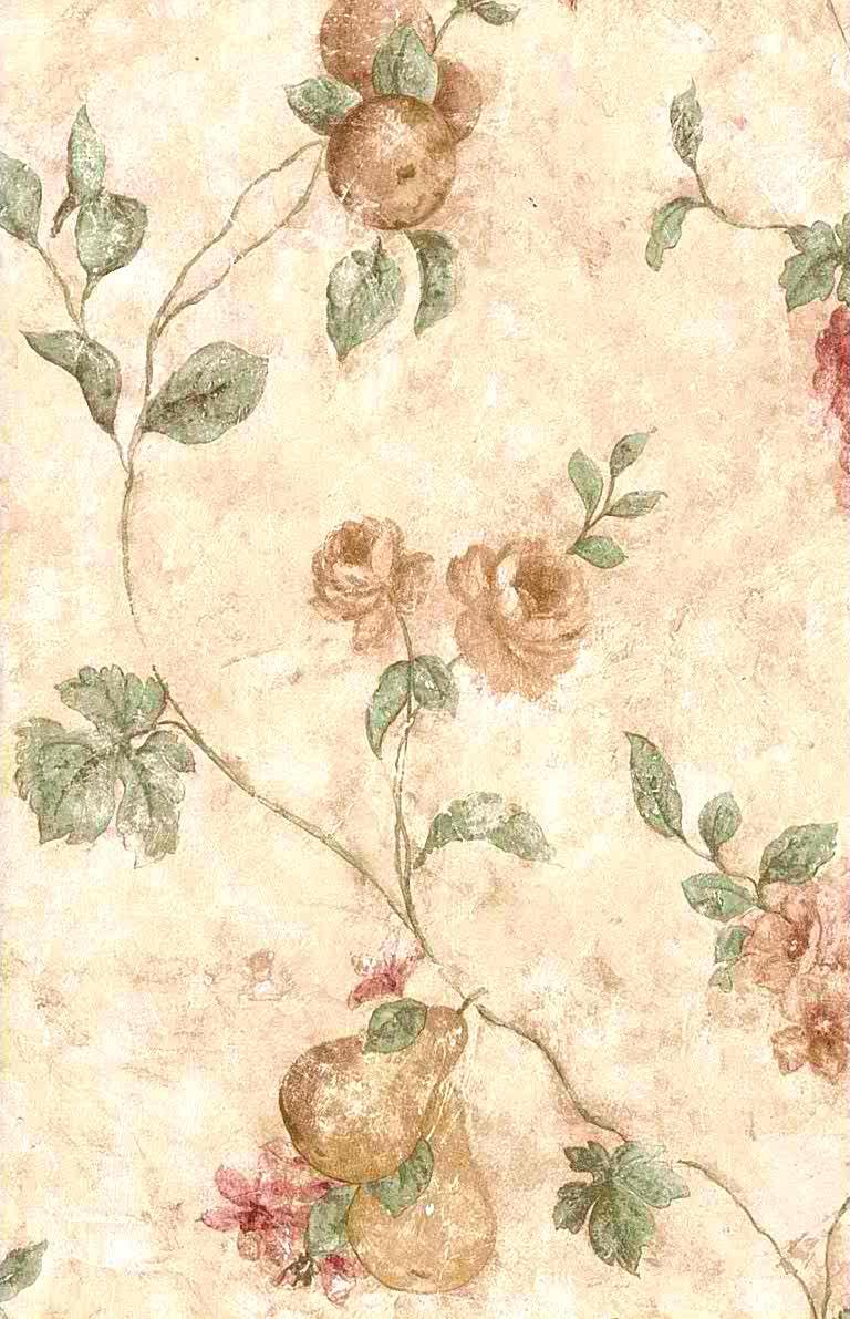 Plaster Faux Vintage Wallpaper, fruit, flowers, beige, putple, green,