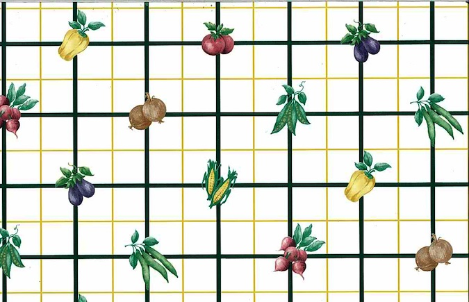 veggie check vintage wallpaper, corn, peas, yellow, black, white, green