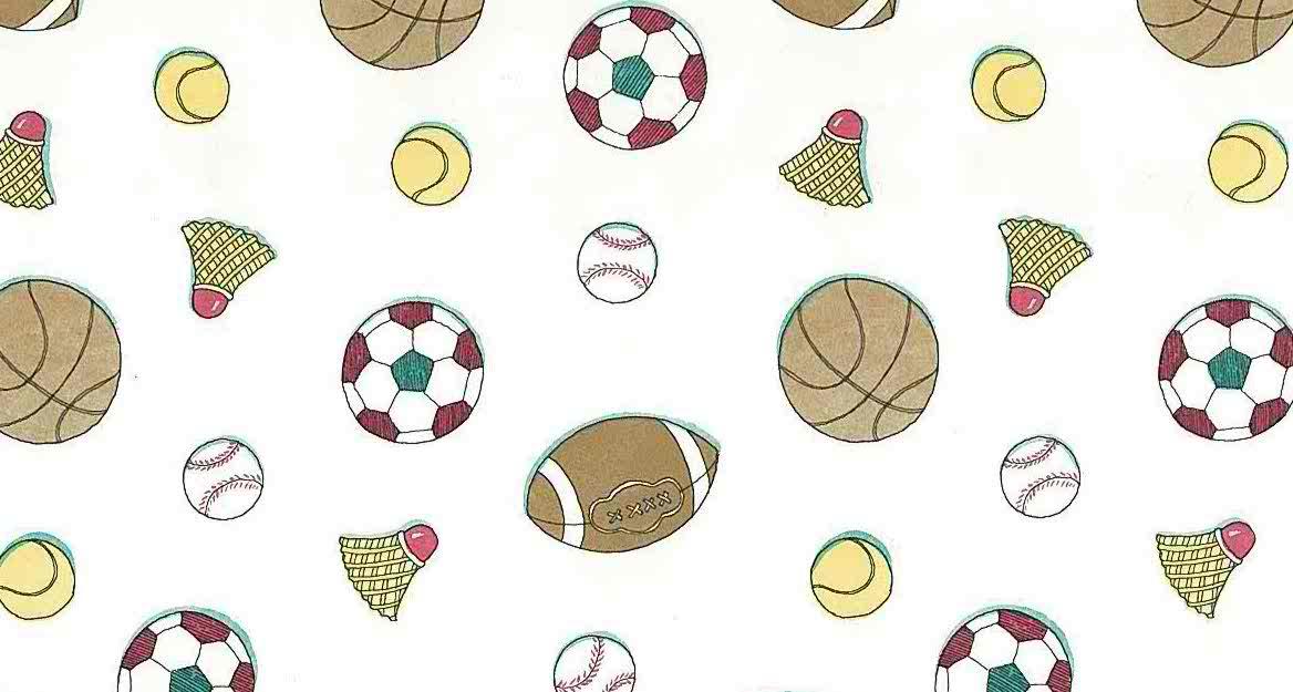 Kids sports vintage wallpaper, kids, baseball, football, basketball, tennis, badminton, red, white, brown