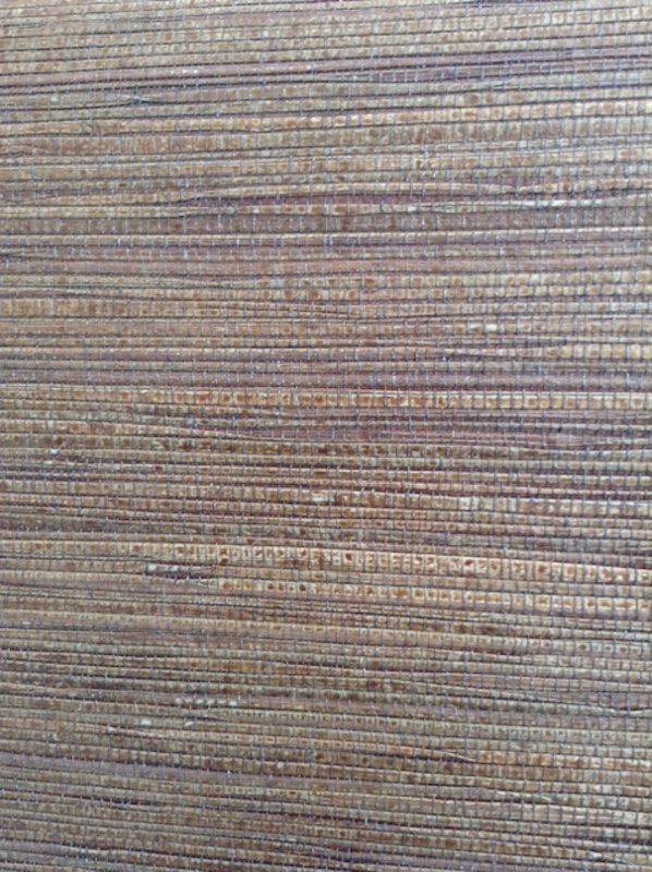 Dark brown natural grasscloth wallpaper, bronze, Asian/Oriental style, living room, dining room, foyer, study, textured