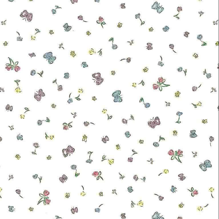 childrens winnie the pooh wallpaper, pink, blue, yellow, off-white, nursery, kids, girl's bedroom, boy's bedroom, floral, butterflies