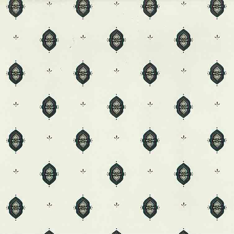 Green Arts Crafts vintage wallpaper, rose, gray, off-white, cream, William Morris
