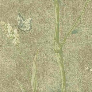 Bamboo wallpaper, Ronald Redding, butterflies, blue, brown, crackled finish, Oriental style