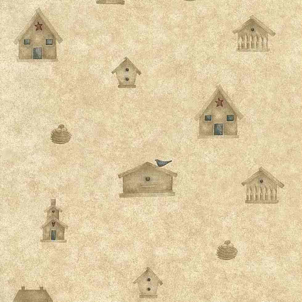 birdhouses vintage wallpaper beige red blue