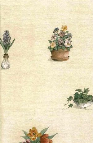Spring Flowers Vintage Wallpaper, pansies, lily of the valley, ivy, hyacinth, terracotta, wicker, cream, textured
