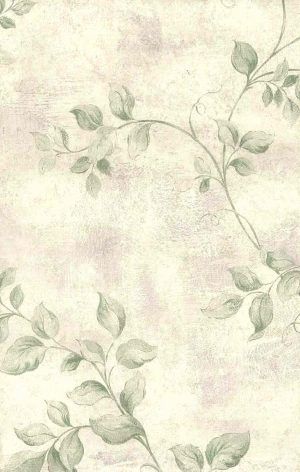 Green vining leaves vintage wallpaper, lavender, faux finish