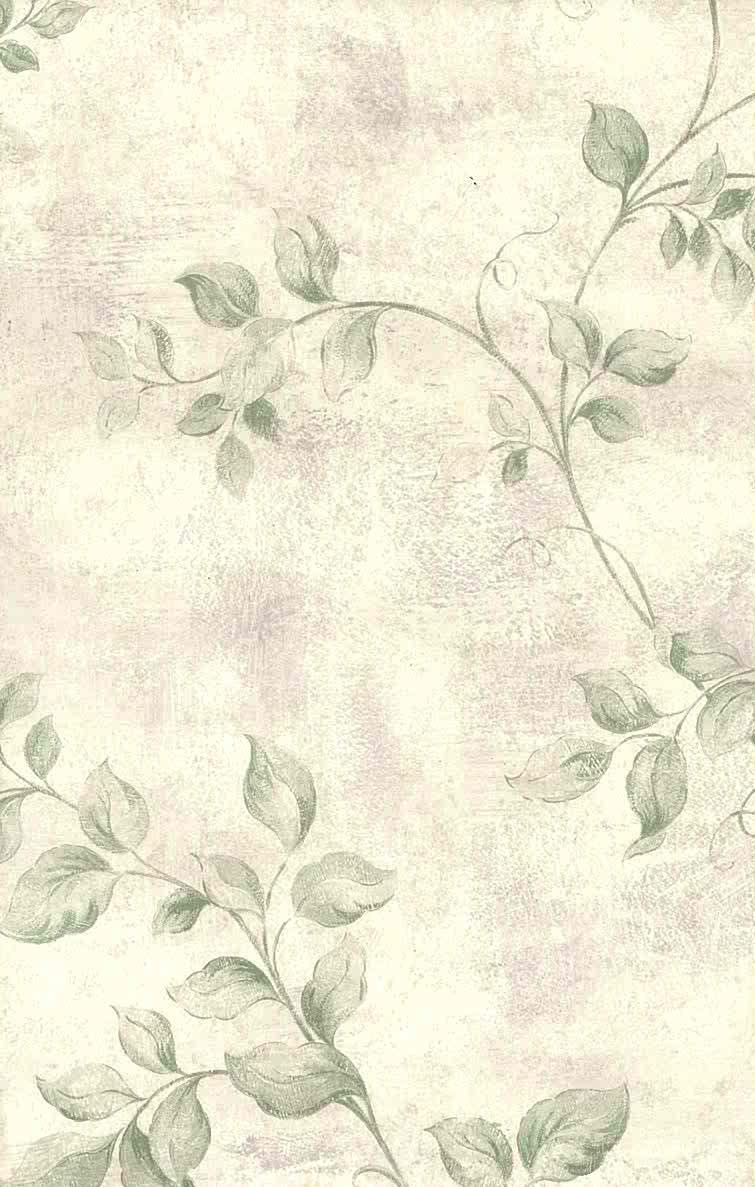 Green vining leaves vintage wallpaper, lavender, faux finish