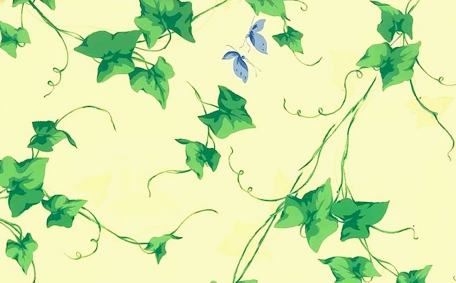 yellow green ivy wallpaper, blue, butterflies, Carey Lind, cottage style
