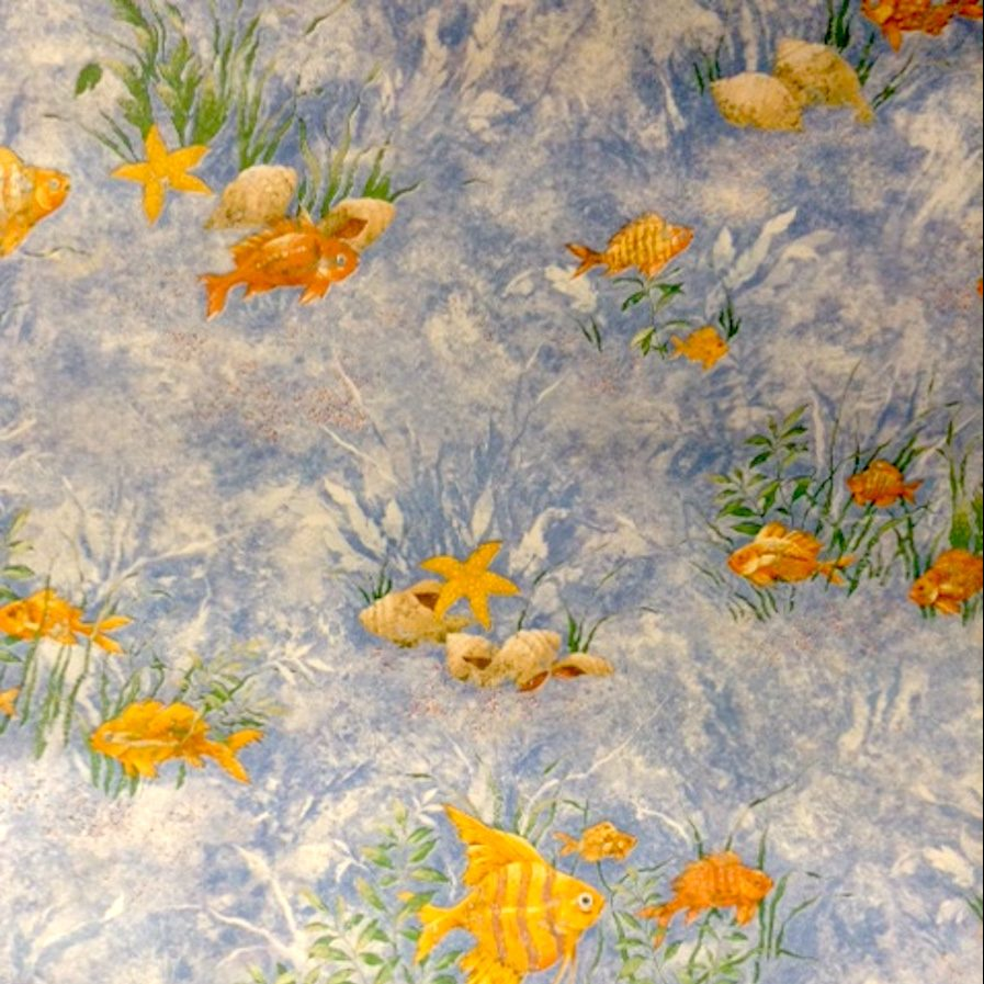 Bathroom reef wallpaper fish shells, water scene