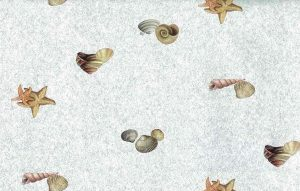 seashells bathroom wallpaper, blue, beige, orange, faux finish, shells,
