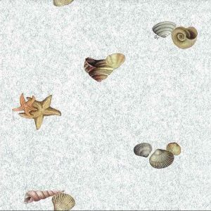 seashells bathroom wallpaper, blue, beige, orange, faux finish, shells,