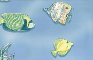 bathroom wallpaper nautica fish, blue, green, yellow, reef, childs bathroom